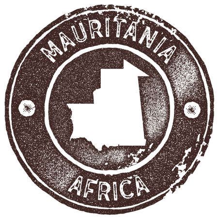 Mauritania map vintage stamp. Retro style handmade label, badge or element for travel souvenirs. Brown rubber stamp with country map silhouette. Vector illustration.