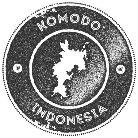 Komodo map vintage stamp. Retro style handmade label, badge or element for travel souvenirs. Dark grey rubber stamp with island map silhouette. Vector illustration.