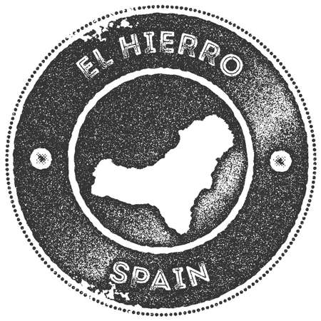 El Hierro map vintage stamp. Retro style handmade label, badge or element for travel souvenirs. Dark grey rubber stamp with island map silhouette. Vector illustration.