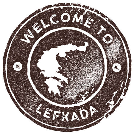 Lefkada map vintage stamp. Retro style handmade label, badge or element for travel souvenirs. Brown rubber stamp with island map silhouette. Vector illustration.