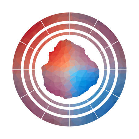 Marie-Galante badge. Bright gradient of island in low poly style. Multicolored Marie-Galante rounded sign with map in geometric style for your infographics. Ilustração