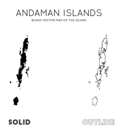 Andaman Islands map. Blank vector map of the Island. Borders of Andaman Islands for your infographic. Vector illustration.