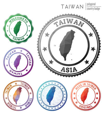 Taiwan badge. Colorful polygonal country symbol. Multicolored geometric Taiwan   set. Vector illustration. Ilustração