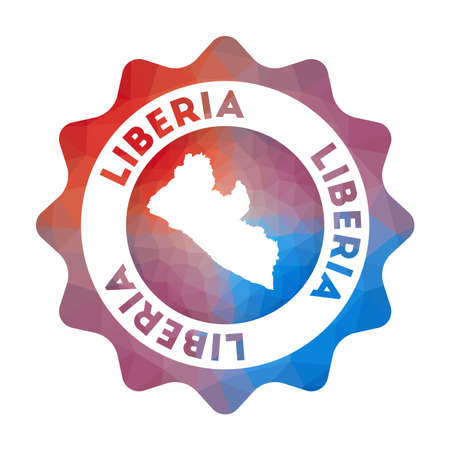 Liberia low poly  of the country in geometric style. Multicolored polygonal Liberia rounded sign with map for your infographics.
