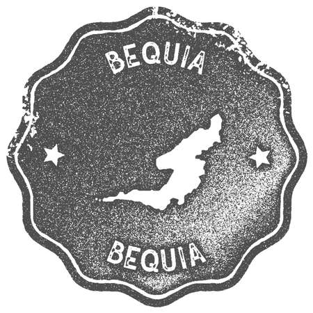 Bequia map vintage stamp. Retro style handmade label, badge or element for travel souvenirs. Grey rubber stamp with island map silhouette. Vector illustration. Ilustração