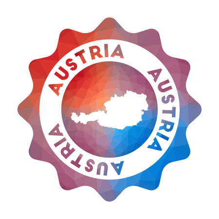 Austria low poly  of the country in geometric style. Multicolored polygonal Austria rounded sign with map for your infographics.