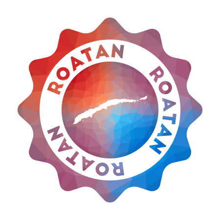Roatan low poly  of the island in geometric style. Multicolored polygonal Roatan rounded sign with map for your infographics.