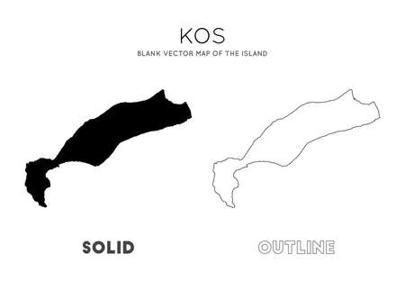 Kos map. Blank vector map of the Island. Borders of Kos for your infographic. Vector illustration. Ilustração
