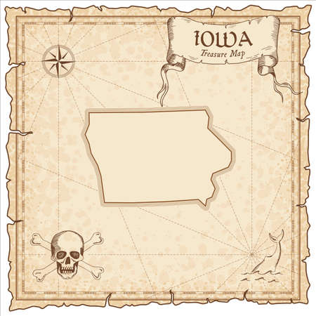 Iowa pirate map. Ancient style map template. Old us state borders. Vector illustration. Ilustração