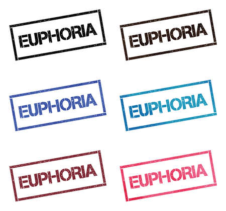 EUPHORIA rectangular stamp collection. Textured seals with text isolated on white backgound. Stamps in turquoise, red, blue, black and sepia colors. Colourful watercolor style vector illustration.