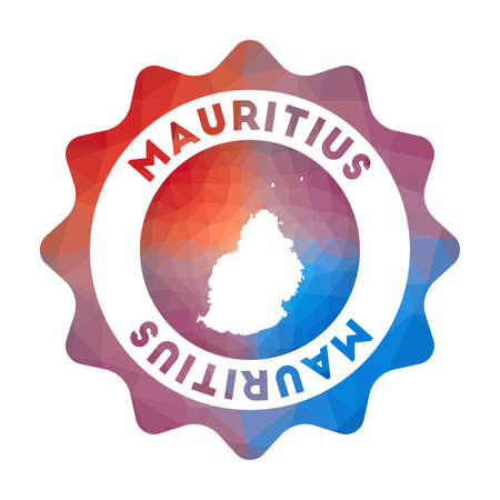 Mauritius low poly of the island in geometric style. Multicolored polygonal Mauritius rounded sign with map for your infographics. Ilustração