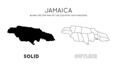 Jamaica map. Blank vector map of the Country with regions. Borders of Jamaica for your infographic. Vector illustration.