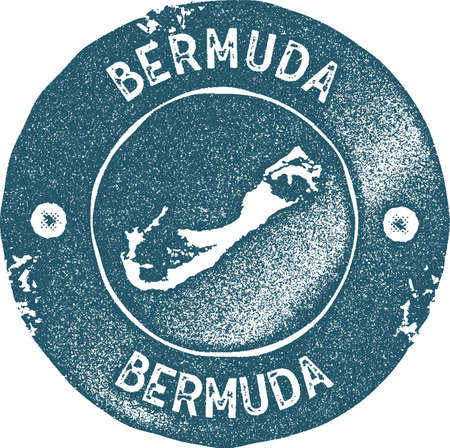 Bermuda map vintage stamp. Retro style handmade label, badge or element for travel souvenirs. Blue rubber stamp with island map silhouette. Vector illustration. Ilustração
