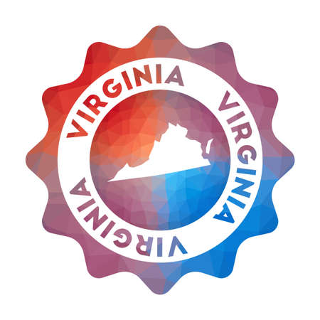 Virginia low poly  of the us state in geometric style. Multicolored polygonal Virginia rounded sign with map for your infographics.
