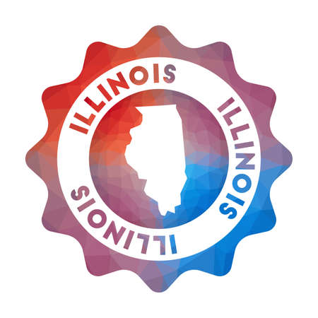 Illinois low poly  of the us state in geometric style. Multicolored polygonal Illinois rounded sign with map for your infographics.