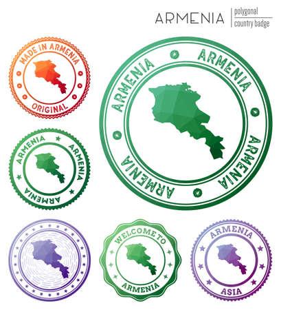 Armenia badge. Colorful polygonal country symbol. Multicolored geometric Armenia  set. Vector illustration.
