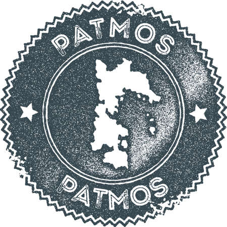 Patmos map vintage stamp. Retro style handmade label, badge or element for travel souvenirs. Dark blue rubber stamp with island map silhouette. Vector illustration.
