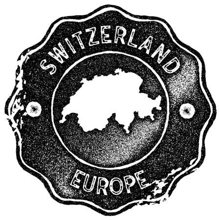 Switzerland map vintage stamp. Retro style handmade label, badge or element for travel souvenirs. Black rubber stamp with country map silhouette. Vector illustration.