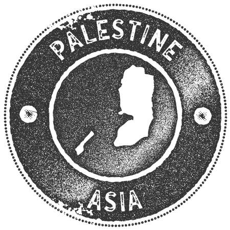 Palestine map vintage stamp. Retro style handmade label, badge or element for travel souvenirs. Dark grey rubber stamp with country map silhouette. Vector illustration.