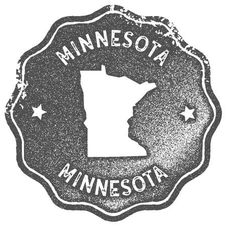 Minnesota map vintage stamp. Retro style handmade label, badge or element for travel souvenirs. Grey rubber stamp with us state map silhouette. Vector illustration.