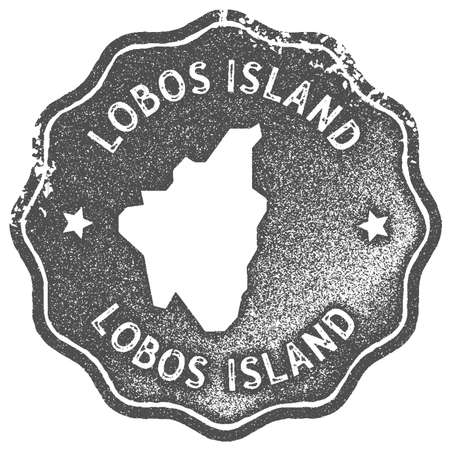 Lobos Island map vintage stamp. Retro style handmade label, badge or element for travel souvenirs. Grey rubber stamp with island map silhouette. Vector illustration.