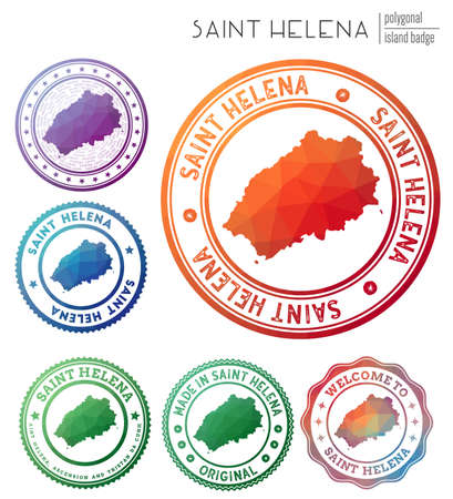 Saint Helena badge. Colorful polygonal island symbol. Multicolored geometric Saint Helena set. Vector illustration. Stock Illustratie