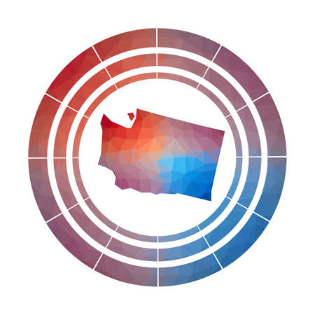Washington badge. Bright gradient  of us state in low poly style. Multicolored Washington rounded sign with map in geometric style for your infographics.