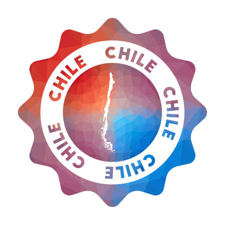 Chile low poly  of the country in geometric style. Multicolored polygonal Chile rounded sign with map for your infographics.