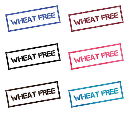 Wheat free rectangular stamp collection. Textured seals with text isolated on white backgound. Stamps in turquoise, red, blue, black and sepia colors. Colourful watercolor style vector illustration. Ilustração