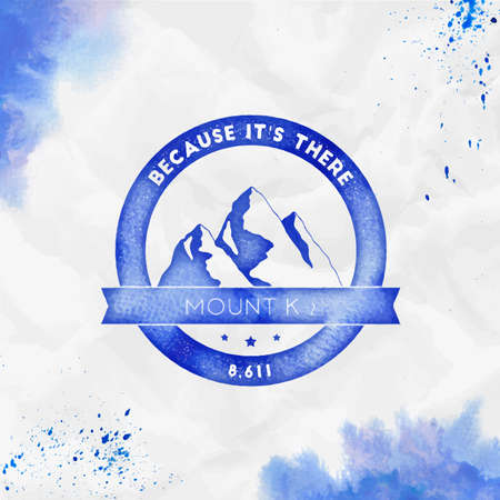 K2  Round climbing blue vector insignia. K2 in Karakoram, Pakistan outdoor adventure illustration. Climbing, trekking, hiking, mountaineering and other extreme activities   template.