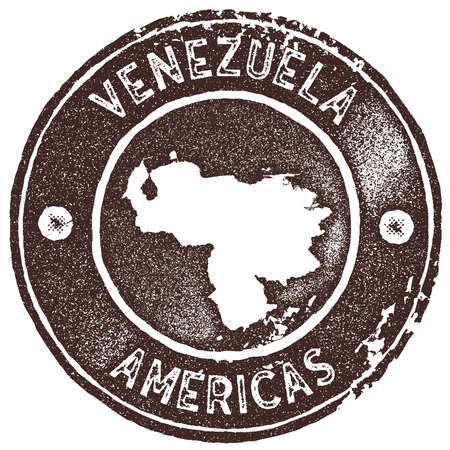 Venezuela map vintage stamp. Retro style handmade label, badge or element for travel souvenirs. Brown rubber stamp with country map silhouette. Vector illustration.