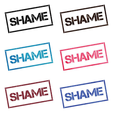 Shame rectangular stamp collection. Textured seals with text isolated on white backgound. Stamps in turquoise, red, blue, black and sepia colors. Colourful watercolor style vector illustration. Ilustração