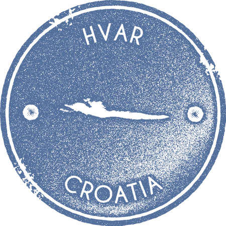 Hvar map vintage stamp. Retro style handmade label, badge or element for travel souvenirs. Light blue rubber stamp with island map silhouette. Vector illustration.