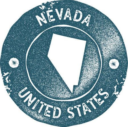 Nevada map vintage stamp. Retro style handmade label, badge or element for travel souvenirs. Blue rubber stamp with us state map silhouette. Vector illustration.