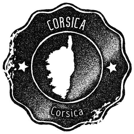 Corsica map vintage stamp. Retro style handmade label, badge or element for travel souvenirs. Black rubber stamp with island map silhouette. Vector illustration.