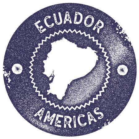 Ecuador map vintage stamp. Retro style handmade label, badge or element for travel souvenirs. Deep purple rubber stamp with country map silhouette. Vector illustration. Ilustração