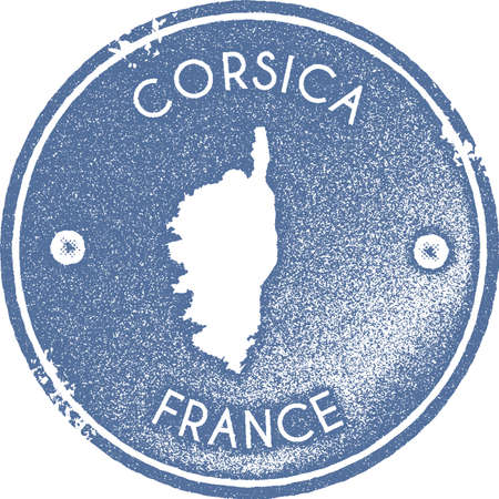 Corsica map vintage stamp. Retro style handmade label, badge or element for travel souvenirs. Light blue rubber stamp with island map silhouette. Vector illustration.