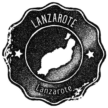 Lanzarote map vintage stamp. Retro style handmade label, badge or element for travel souvenirs. Black rubber stamp with island map silhouette. Vector illustration.