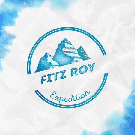 Fitz Roy   Round expedition turquoise vector insignia. Fitz Roy in Andes, Chile outdoor adventure illustration.