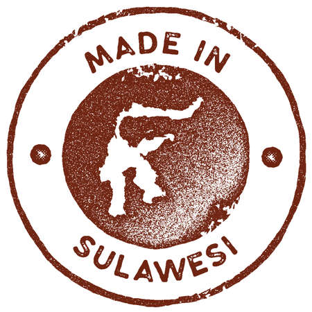 Sulawesi map vintage stamp. Retro style handmade label, badge or element for travel souvenirs. Red rubber stamp with island map silhouette. Vector illustration.