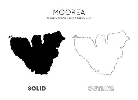 Moorea map. Blank vector map of the Island. Borders of Moorea for your infographic. Vector illustration.