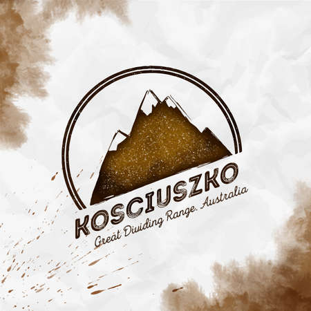 Kosciuszko  Round mountain sepia vector insignia. Kosciuszko in Great Dividing Range, Australia outdoor adventure illustration.