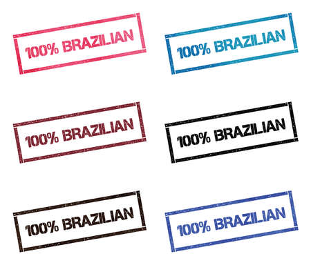 100% Brazilian rectangular stamp collection. Textured seals with text isolated on white backgound. Stamps in turquoise, red, blue, black and sepia colors.