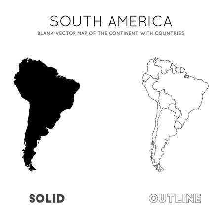 South America map. Blank vector map of the Continent with countries. Borders of South America for your infographic. Vector illustration. Çizim