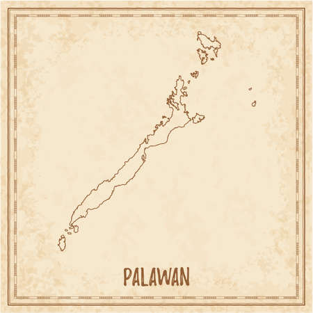 Pirate map of Palawan. Blank vector map of the Island. Vector illustration.