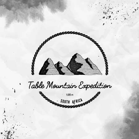 Table Mountain   Round trekking black vector insignia. Table Mountain in , South Africa outdoor adventure illustration.