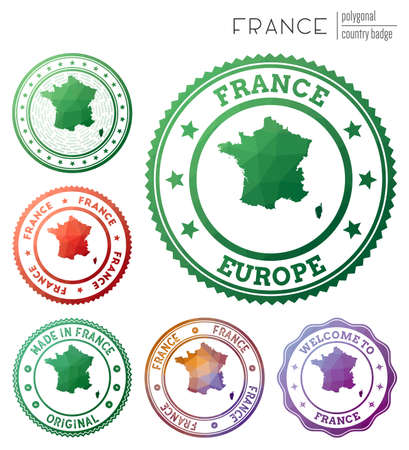 France badge. Colorful polygonal country symbol. Multicolored geometric France  set. Vector illustration.
