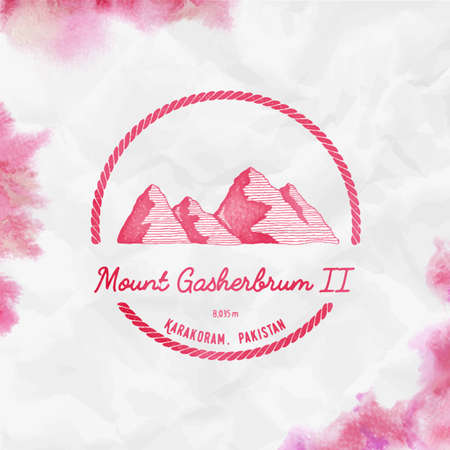 Gasherbrum II   Round trekking red vector insignia. Gasherbrum II in Karakoram, Pakistan outdoor adventure illustration.