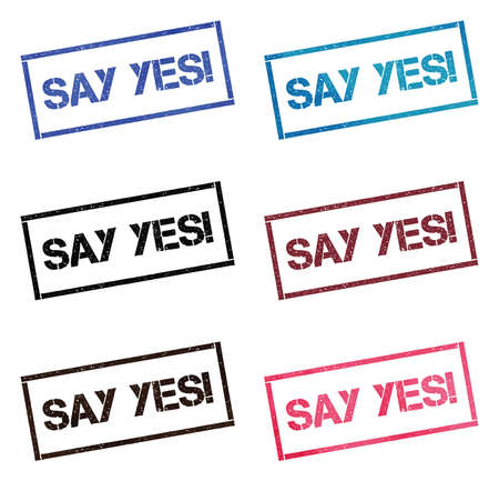 Say Yes!. Rectangular stamp collection. Textured seals with text isolated on white backgound. Stamps in turquoise, red, blue, black and sepia colors. Colourful watercolor style vector illustration.