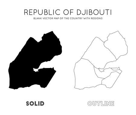 Djibouti map. Blank vector map of the Country with regions. Borders of Djibouti for your infographic. Vector illustration.